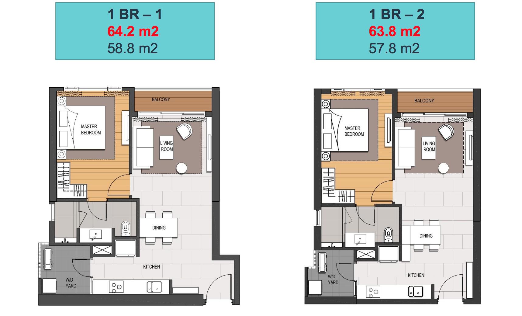 Layout căn hộ 1 phòng ngủ