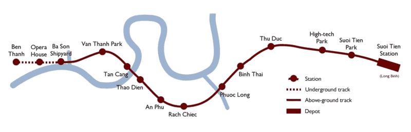 Tiến độ và sơ đồ tuyến Metro số 1 Bến Thành – Suối Tiên